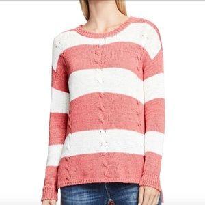Vince Camuto striped coral white sweater